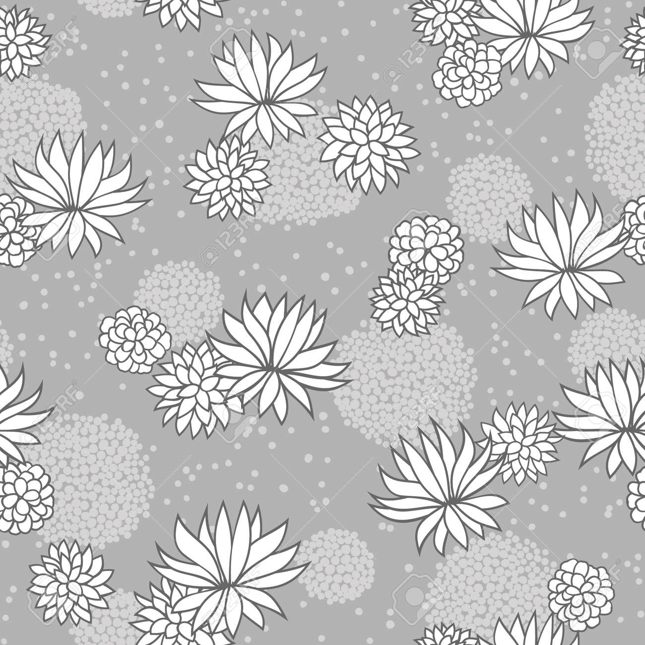 Abstract flowers floral grey seamless background Stock Vector - 14387659