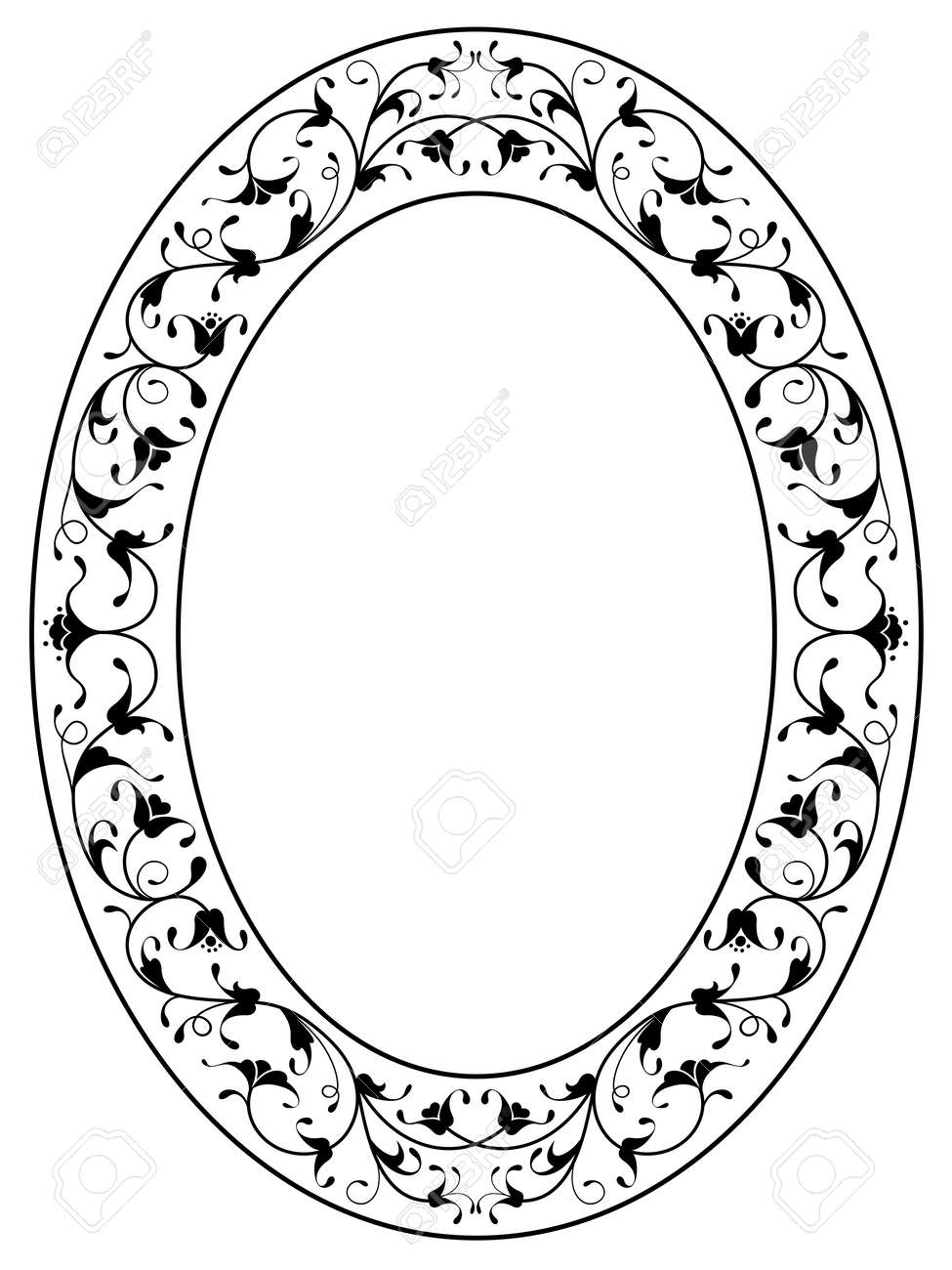 oriental floral ornamental deco black oval frame isolated Stock Vector - 14971318