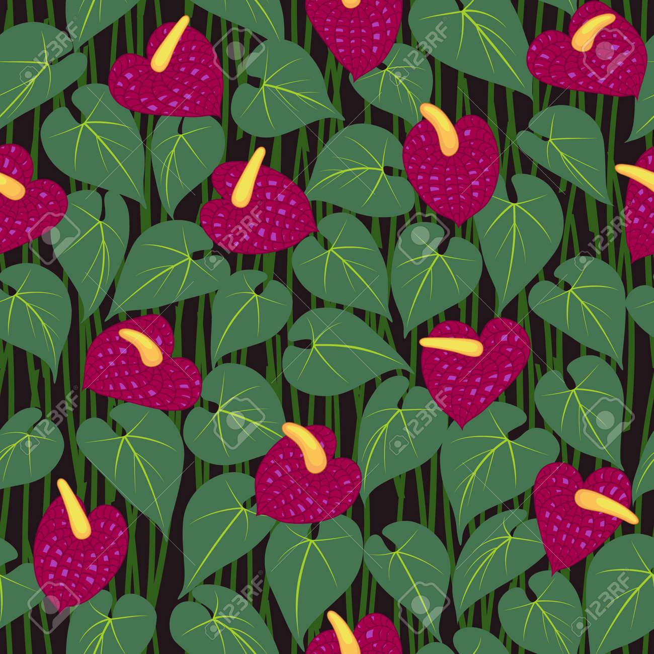 seamless red anturium flower pattern background vector Stock Photo - 14971312