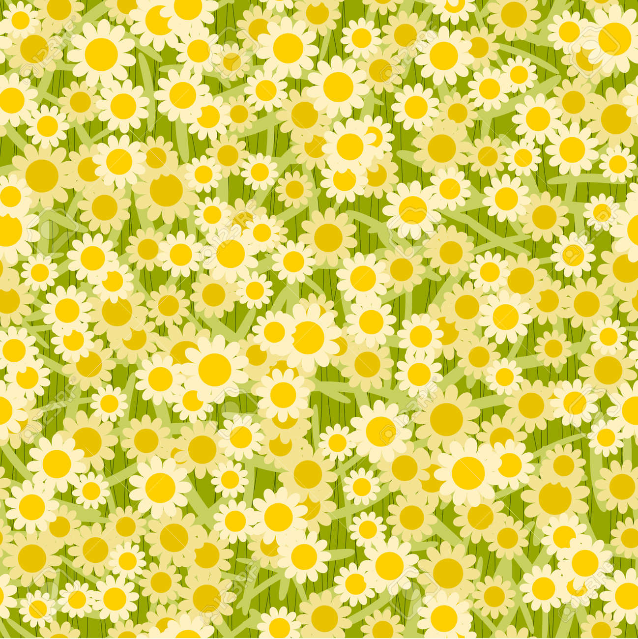 yellow white flowers seamless background pattern Stock Vector - 16557339