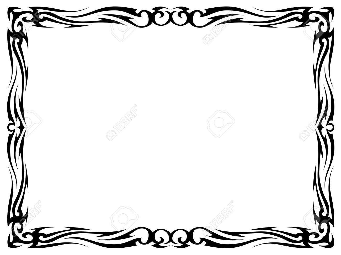 Bien-aimé Simples Tatouage Noir Ornement Isolés Cadre Décoratif Clip Art  CP96