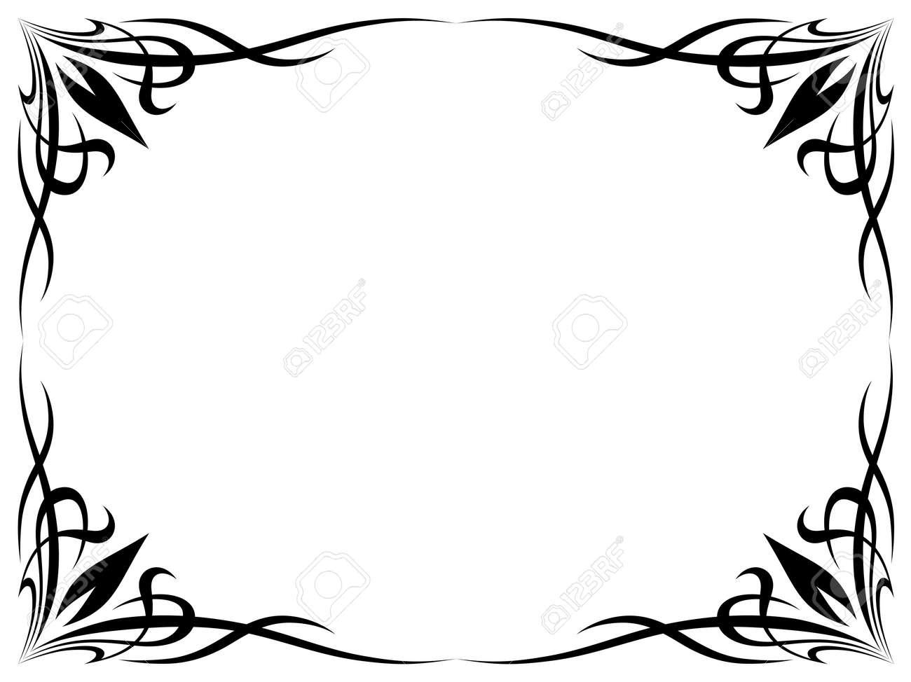 Top Simples Tatouage Noir Ornement Isolés Cadre Décoratif Clip Art  UR42