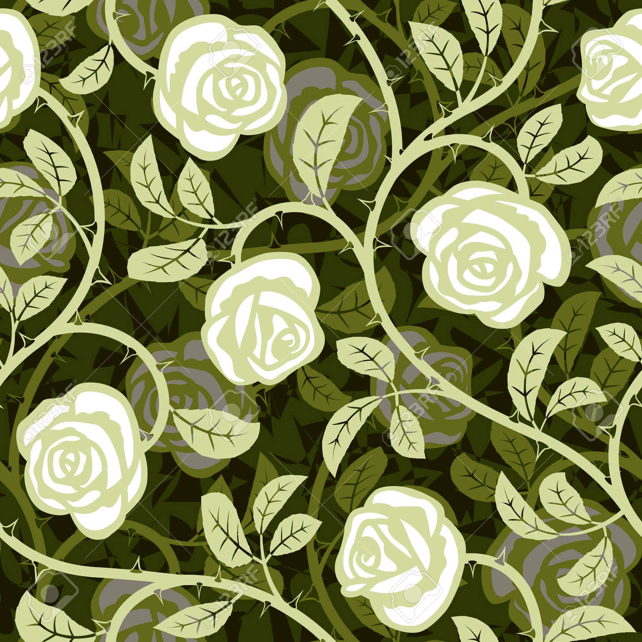 Seamless Abstract Romantic Rose White Background Design Pattern ...