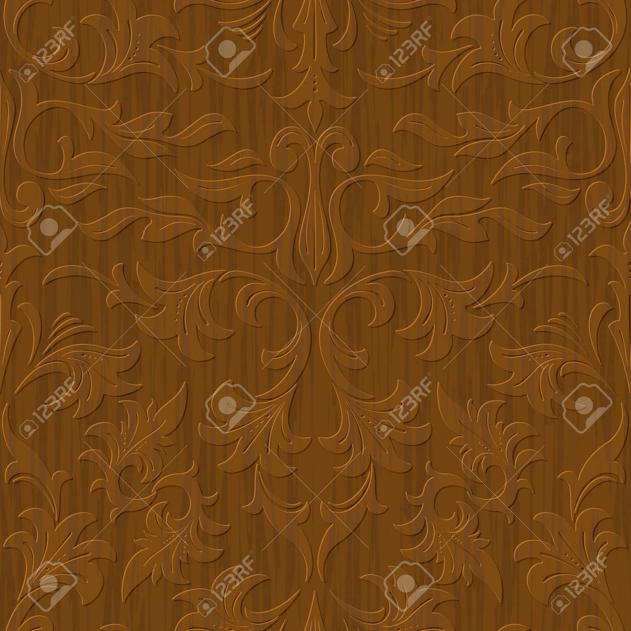 seamless abstract wood carved floral ornament background - 17476196