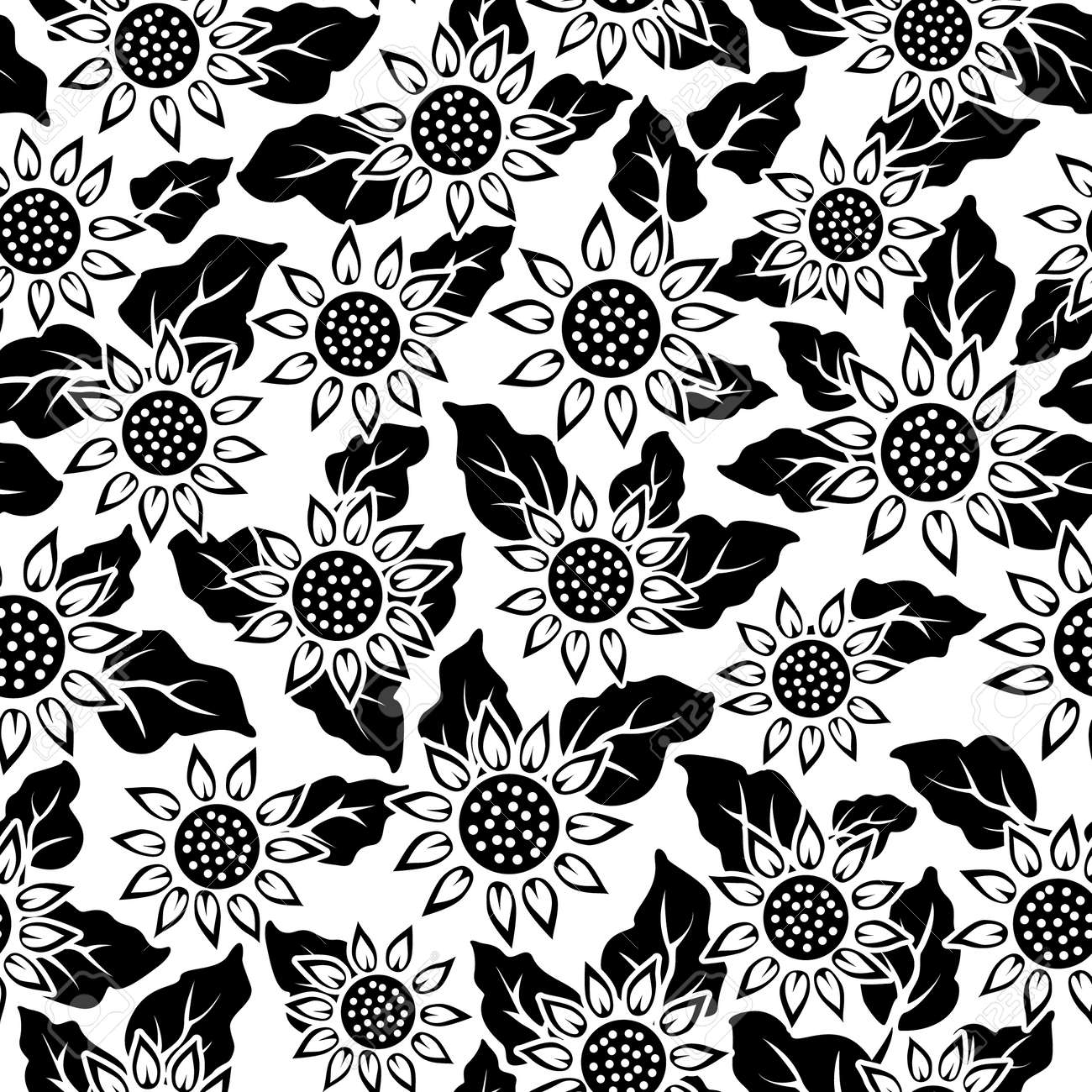 19108937 sunflower flower black isolated seamless background pattern