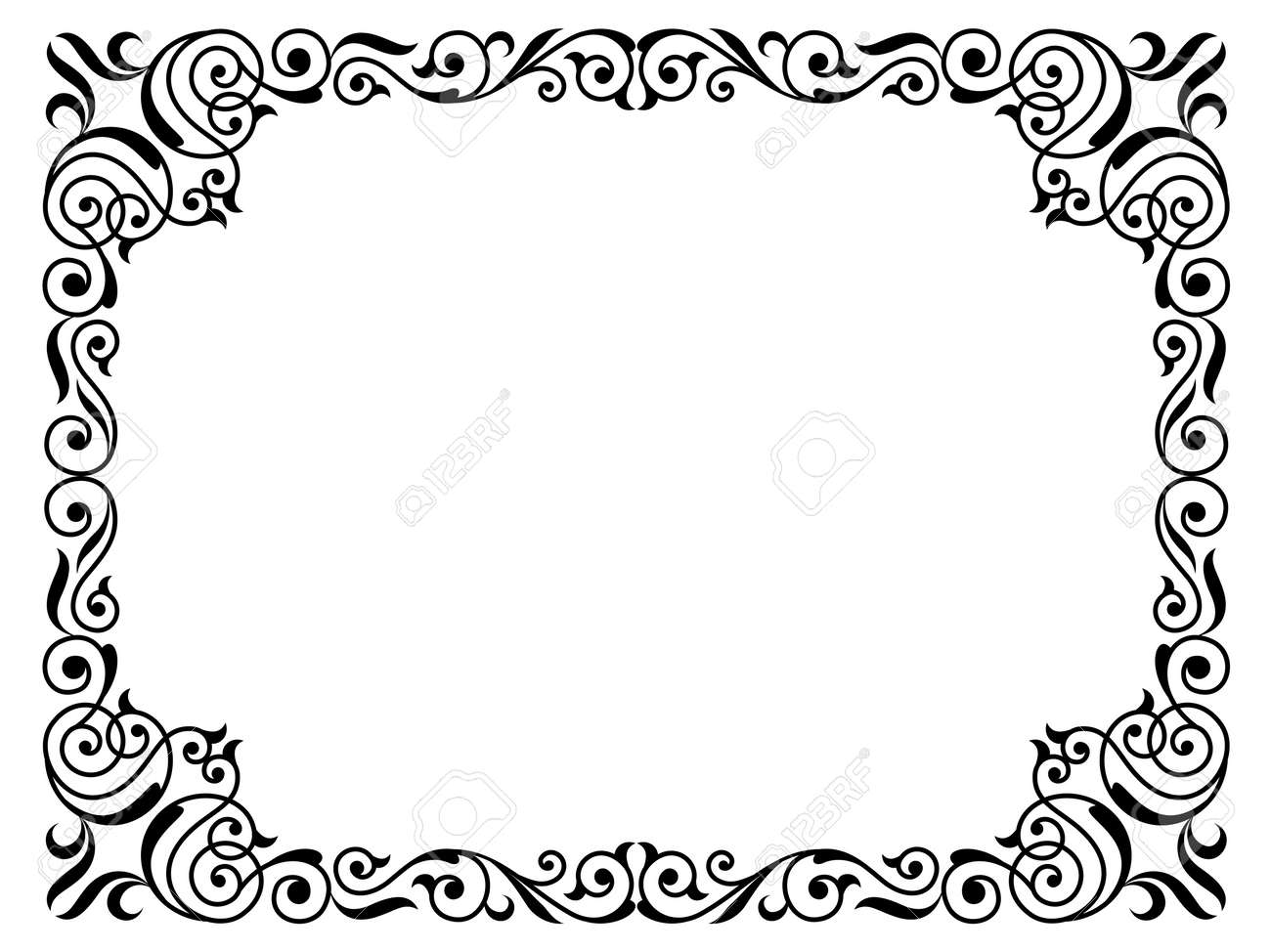 Calligraphy Penmanship Curly Baroque Frame Black Isolated Royalty ...