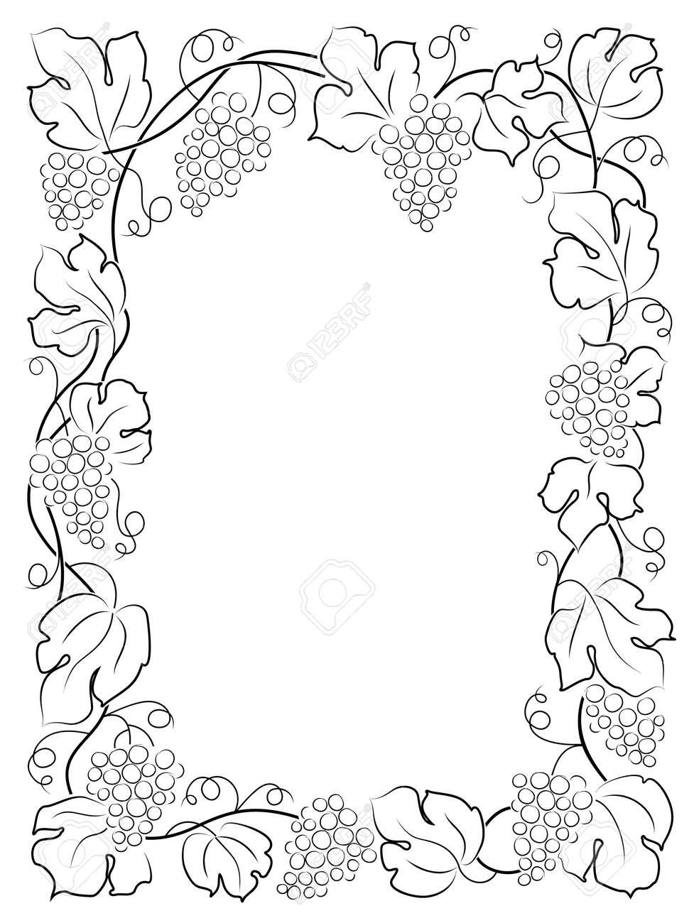 black calligraphy frame wine label vine grapes Stock Vector - 20098603