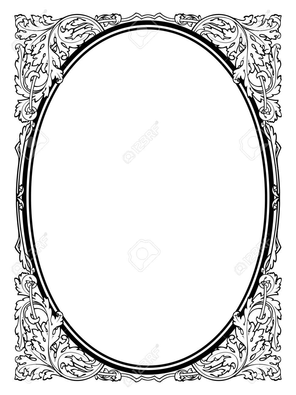 Calligraphie Calligraphie Cadre Baroque Ovale Noir Isolé Non