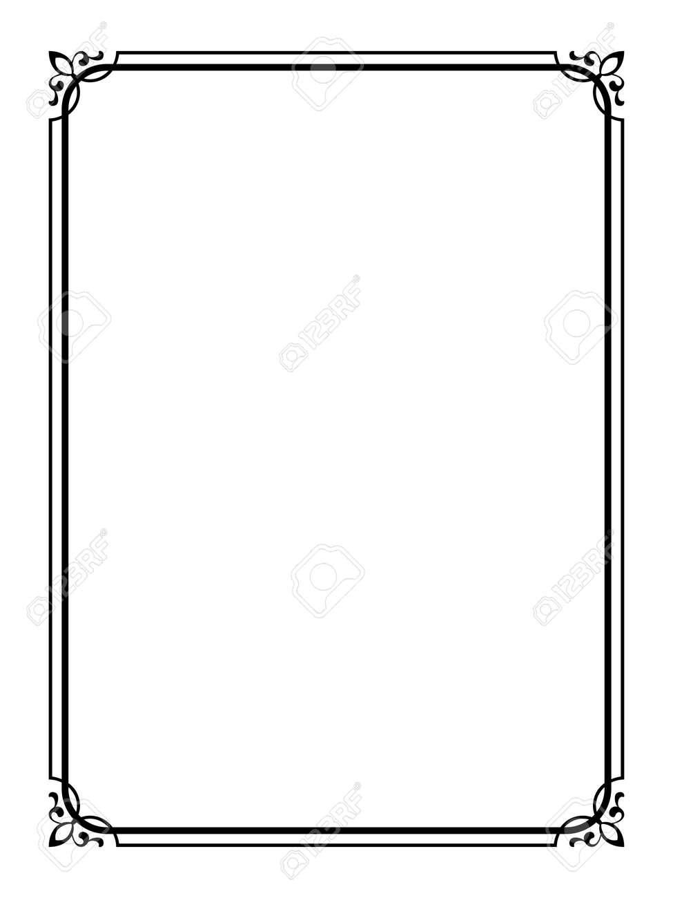Vector simple black calligraph ornamental decorative frame pattern - 26605680