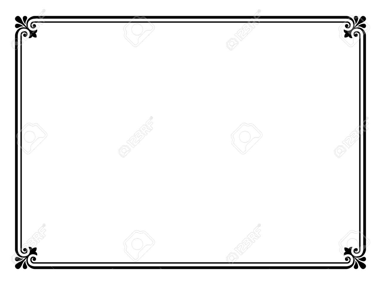Bien connu Vecteur Noir Simple Motif Ornemental Calligraphier Cadre Décoratif  UW03