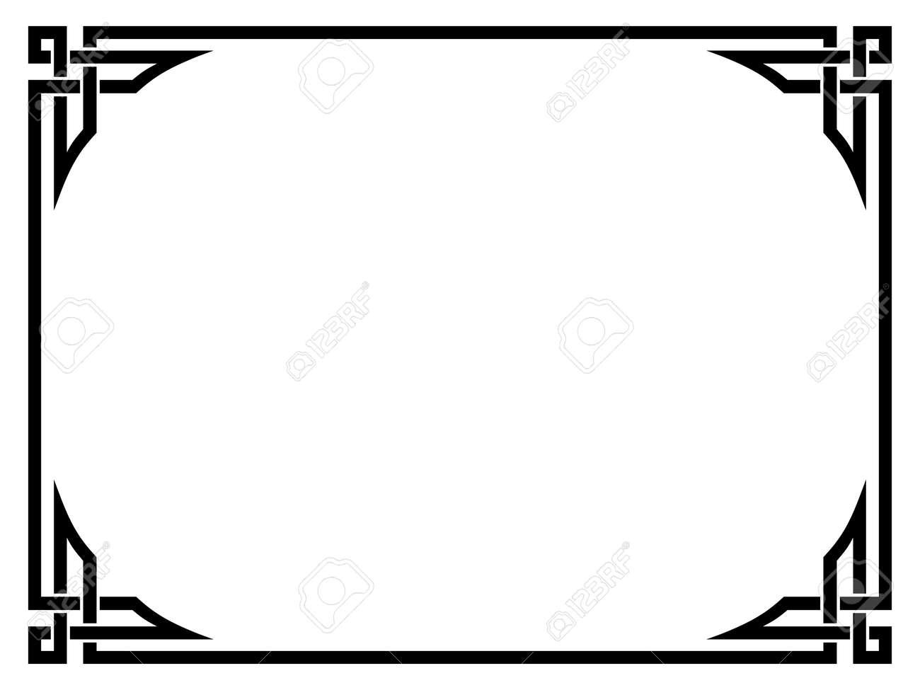 Célèbre De Style Roman Noir Motif Ornemental Cadre Décoratif Isolé Clip  JL27