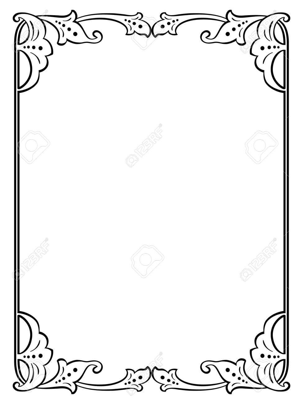Calligraphie Calligraphie Bouclés Cadre Baroque Noir Isolé Clip Art