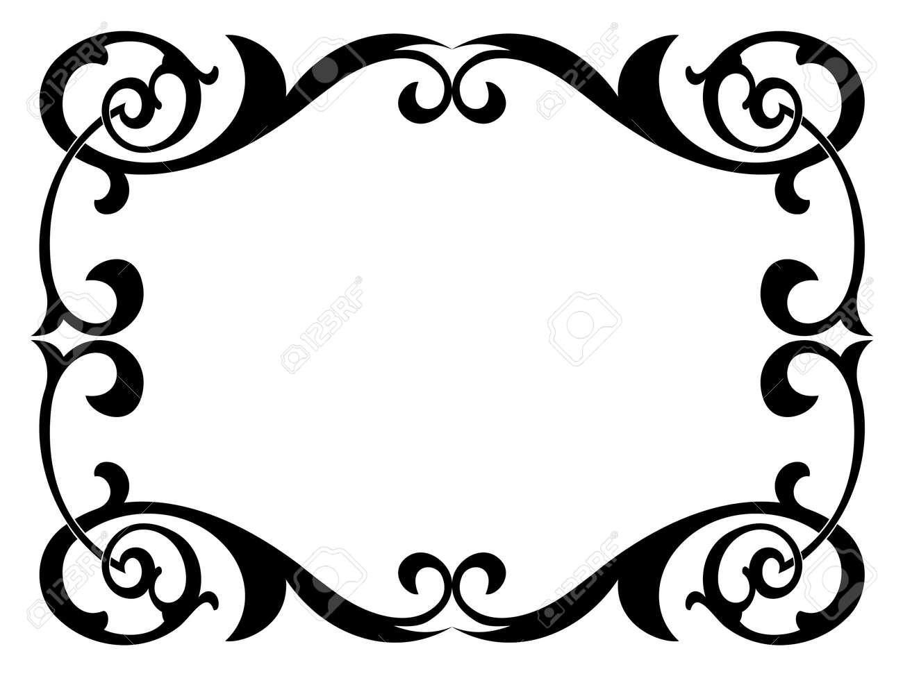 Encadrement Baroque calligraphie calligraphie de cadre baroque noirs bouclés isolé clip