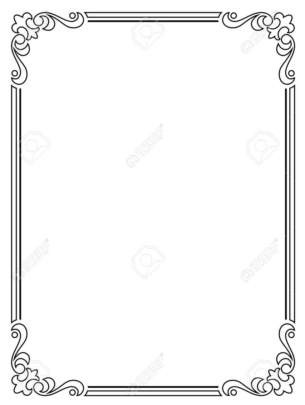 Caligrafía Caligrafía Barroca Marco Negro Rizado Aislado ...