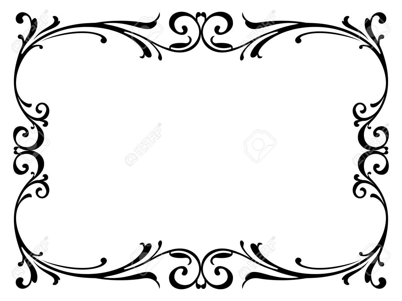 Encadrement Baroque calligraphie calligraphie bouclés cadre baroque noir isolé clip art