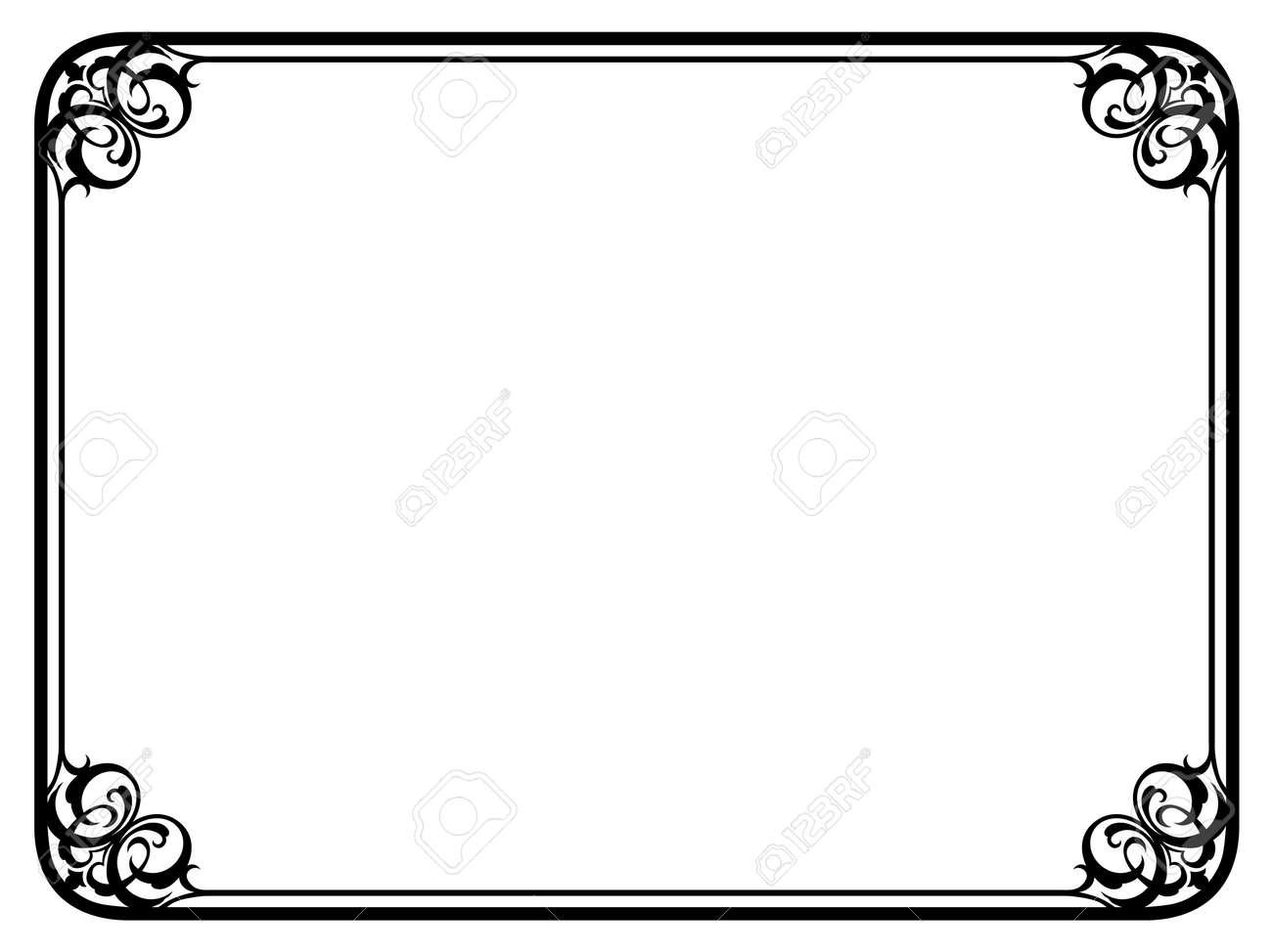 シンプルな黒の達筆装飾装飾的なフレーム パターン ベクトル