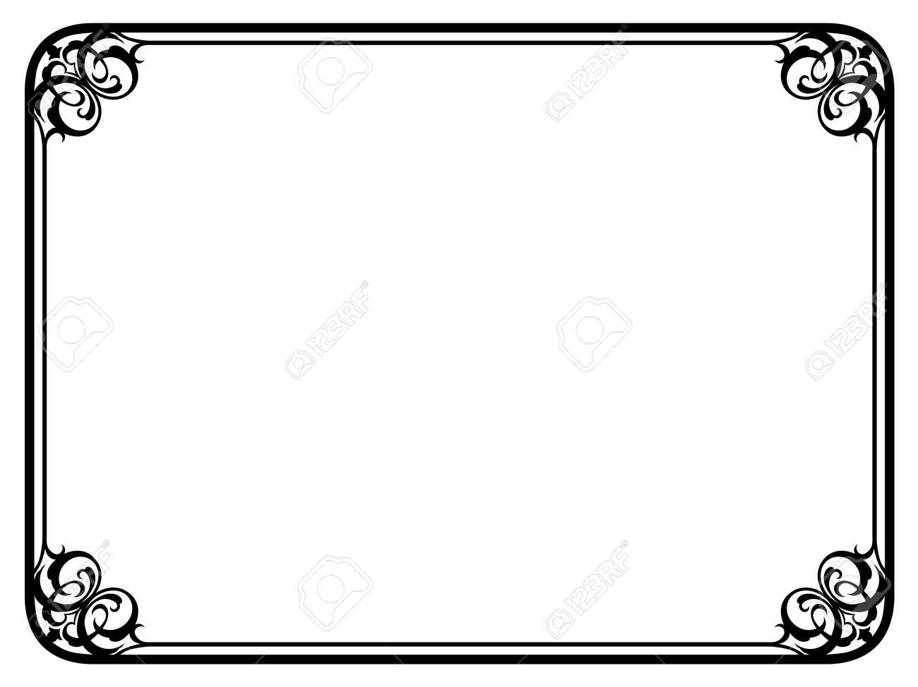 simple frame border. Vector Simple Black Calligraph Ornamental Decorative Frame Pattern Border E