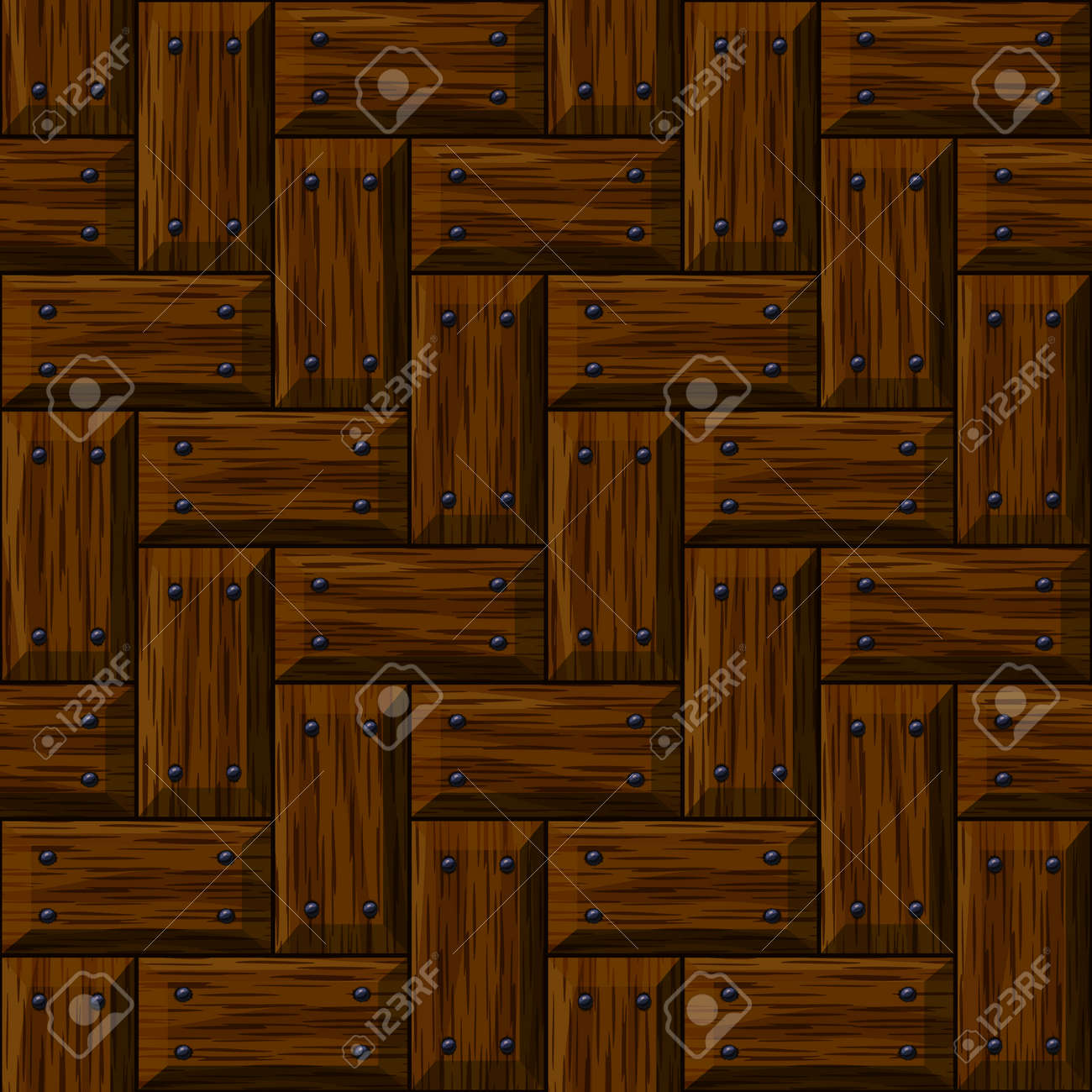 Seamless Wooden Panel Door Texture With Nails Background Stock Vector