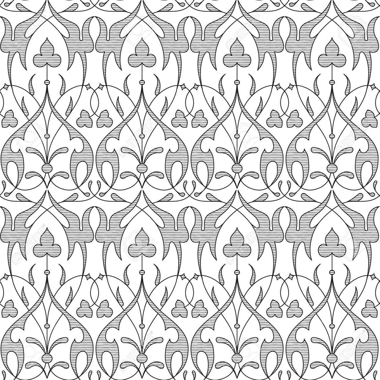 Modelo Floral Inconsútil Del Damasco Fondo Real De Wallpaperblack Y Blanco Patrón De Vector Gráfico