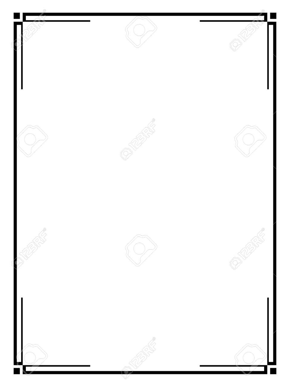 Vector Art Deco black calligraph ornamental decorative frame pattern - 134669623