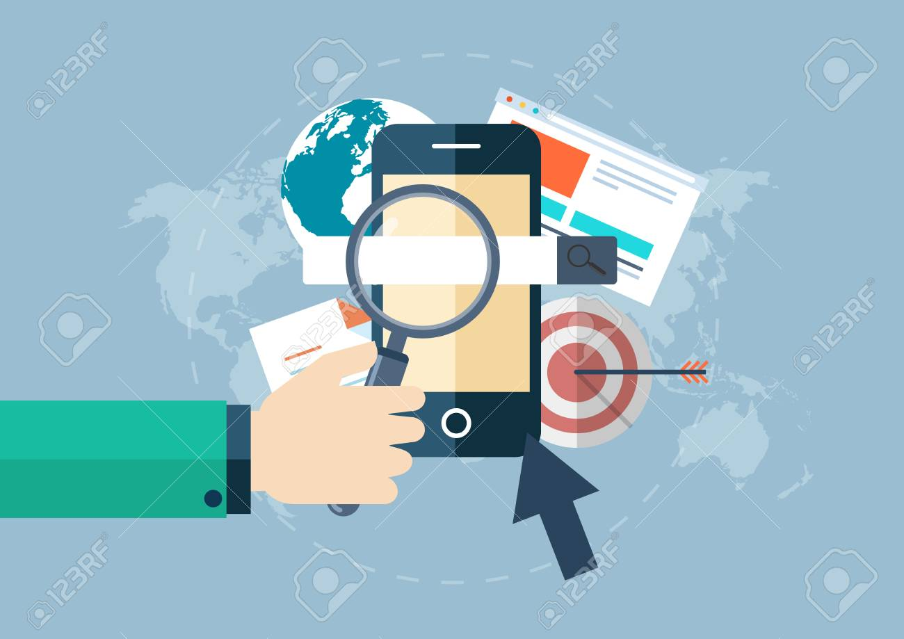 Illustration of business smart phone mobile phone corporate illustration of business smart phone mobile phone corporate hand magnifying glass gumiabroncs Image collections