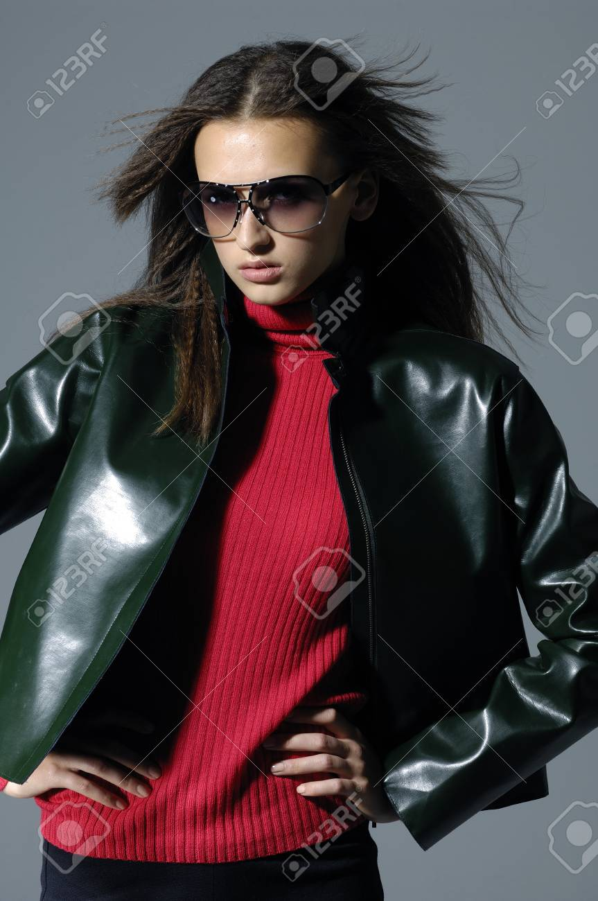 Fashion model in a suit with the sunglasses Stock Photo - 11120661