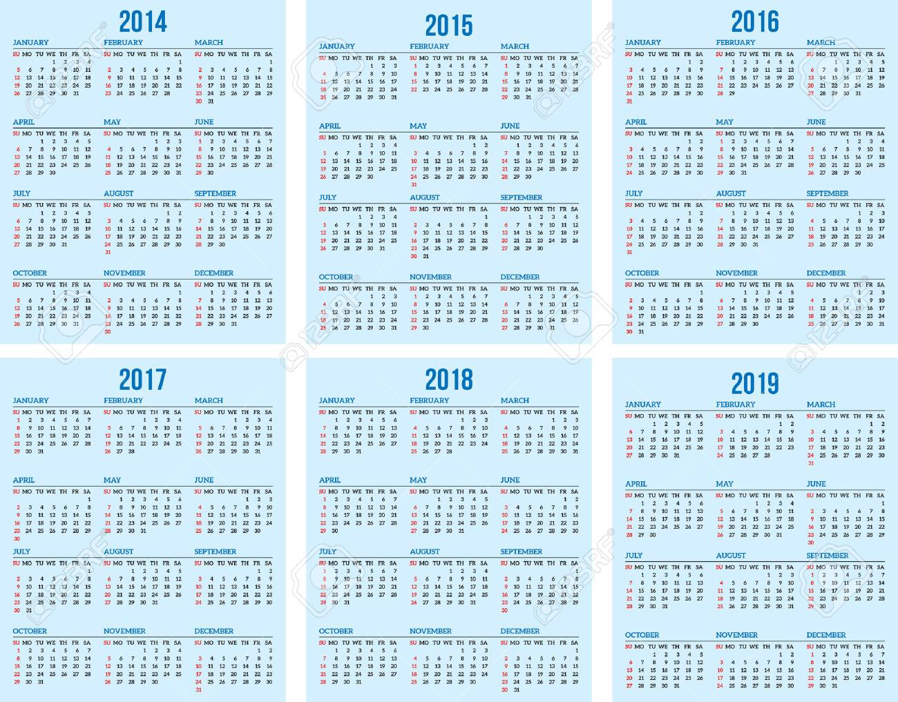 Free Calendar 2014 And 2019 Calendar Grid For 2014, 2015, 2016, 2017, 2018, 2019 Royalty Free