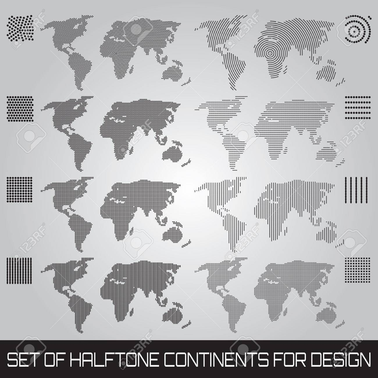 Set of vector halftone continents for design Stock Vector - 23911882