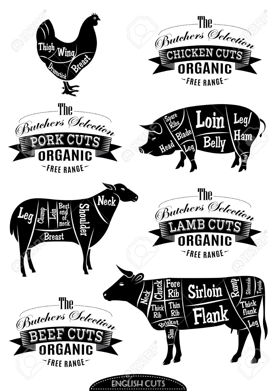 Butcher shop cuts diagram rustic wood sign cow beef large 28104323 diagram cut carcasses of chicken pig cow lamb stock photo butcher silhouetteg pooptronica Images