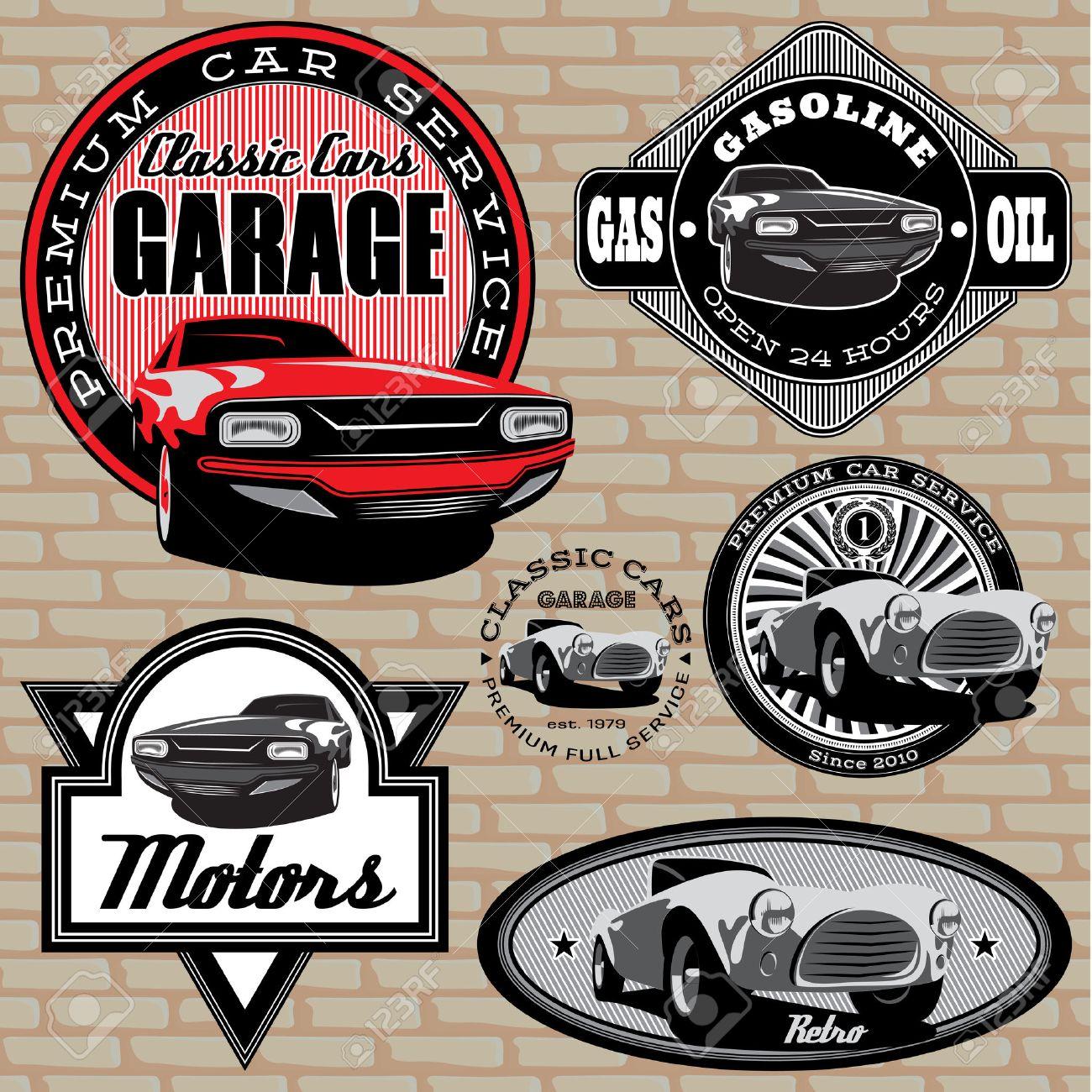 Design car emblem - Vector Set Of Vector Emblems With Retro Car On Wall