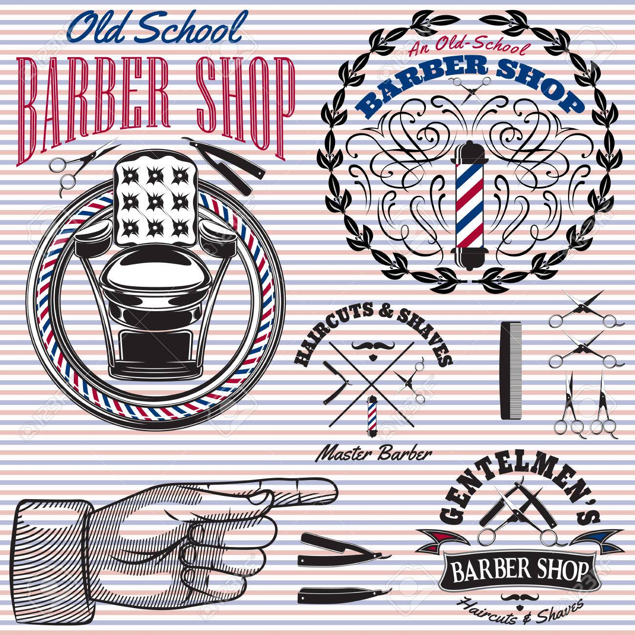 Barber chair vector - Vector Set Of Vector Icons On A Theme Barber Shop
