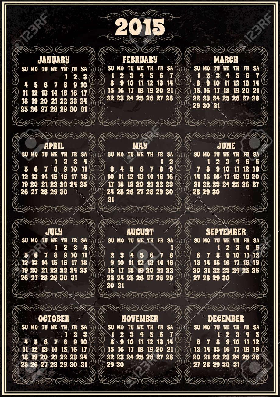 Vector Plantilla De Calendario Para El Año 2015 En Estilo Retro ...