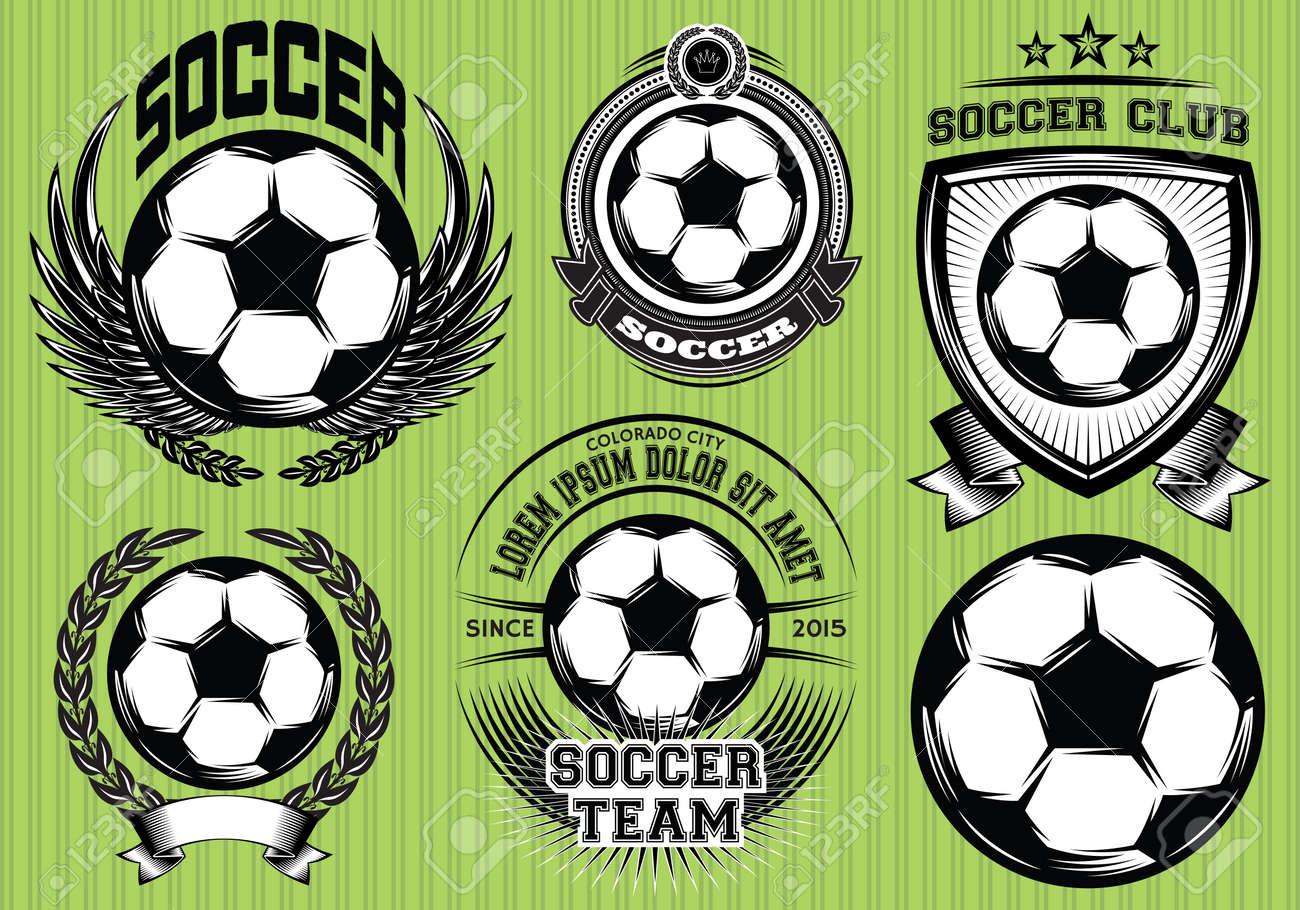 Conjunto de fútbol del fútbol Insignia y el logotipo de plantillas del  diseño Foto de archivo abee95c797985