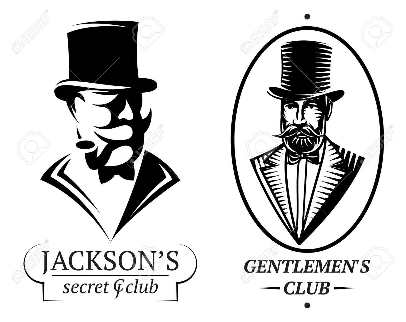 Reihe Von Vektor-Logo-Vorlagen Für Gentlemens Club Lizenzfrei ...