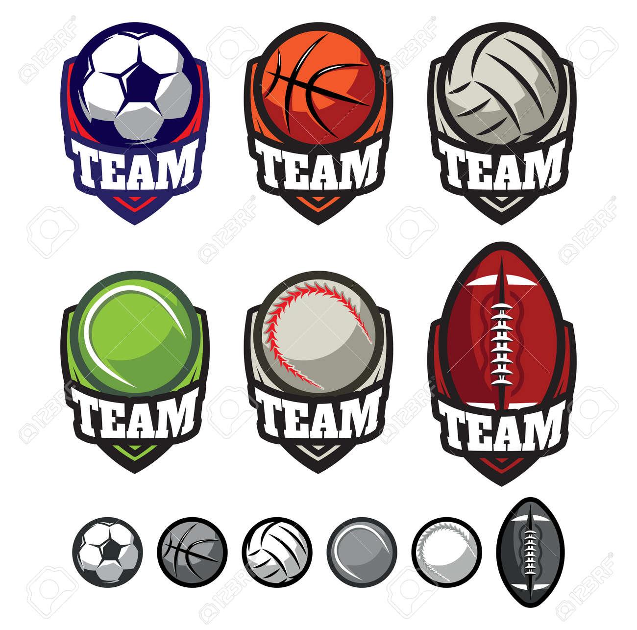 Vorlage Logos Für Sport-Teams Mit Verschiedenen Kugeln Lizenzfrei ...