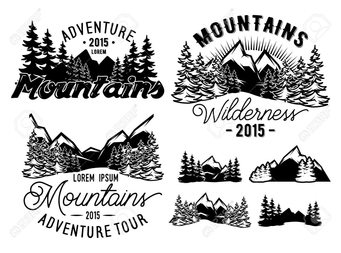 山とモミの森風景モノクロ パターンのセットのイラスト素材ベクタ