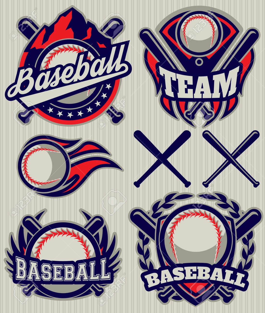 Set Of Sports Template With Ball And Bats For Baseball Royalty Free ...