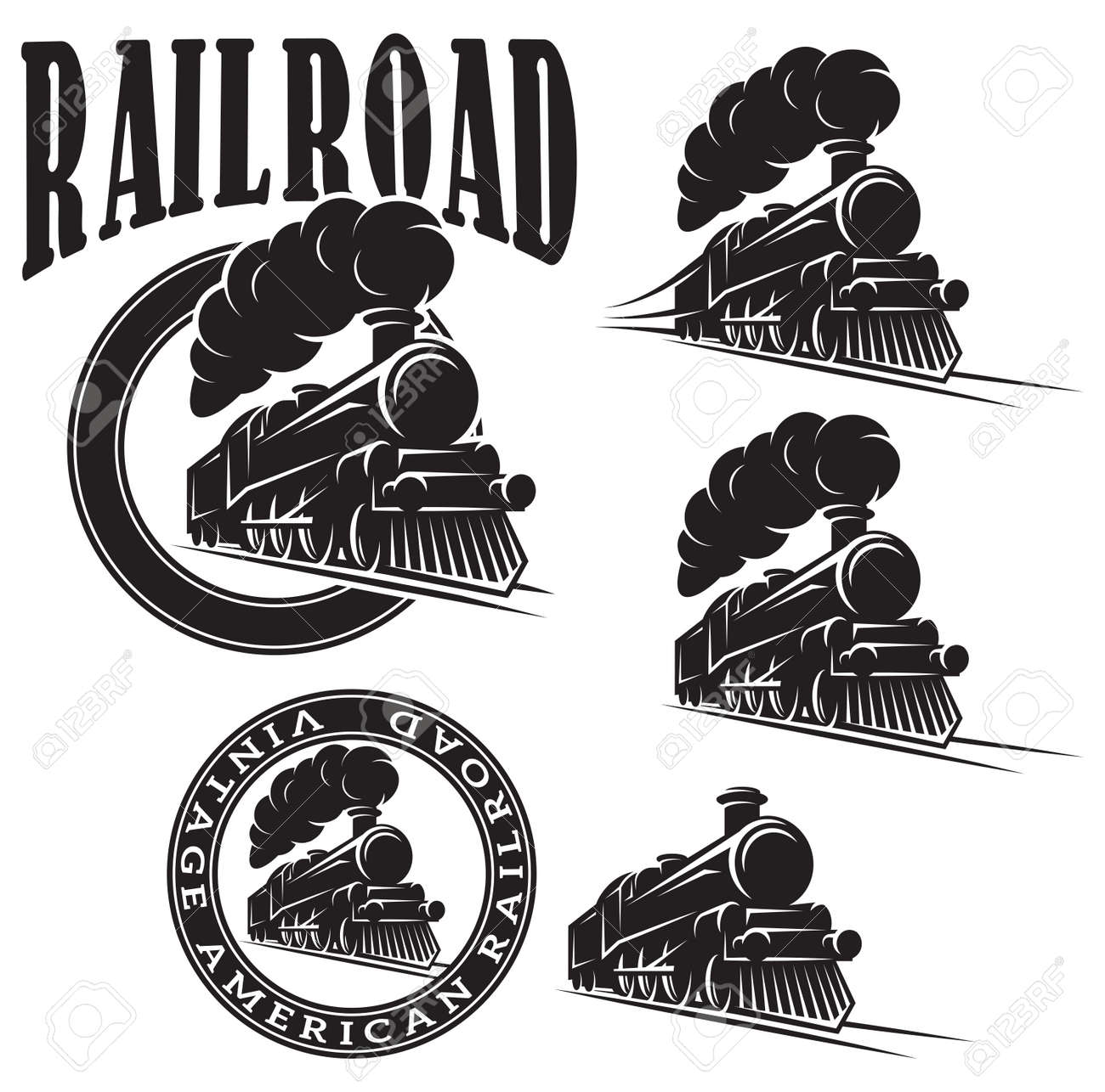 set of vector templates with a locomotive, vintage train - 54777068