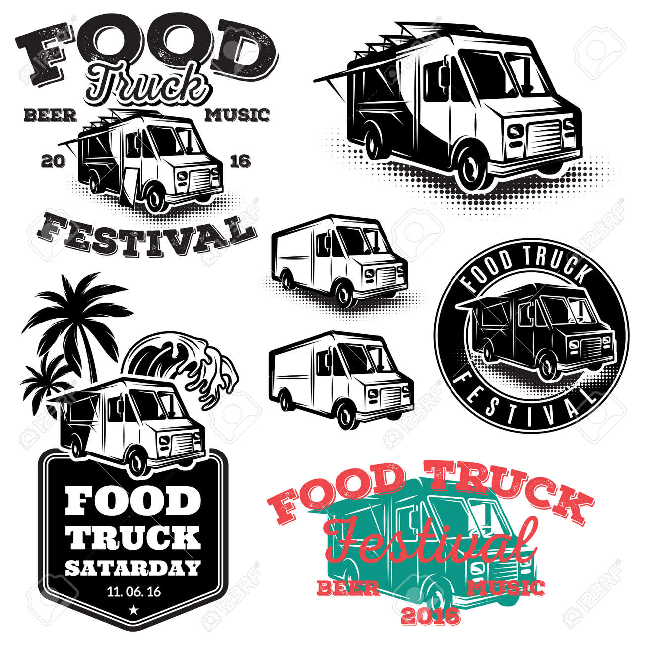 Set Of Templates Design Elements Vintage Style Emblems For The Food Truck Stock Vector