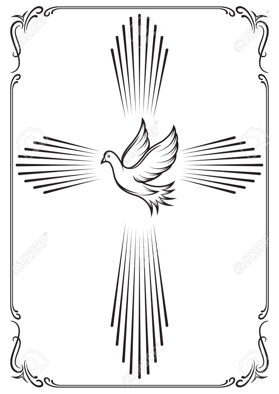 Symbolic cross and dove. Template emblems for church. Vector illustration for design. - 65815830