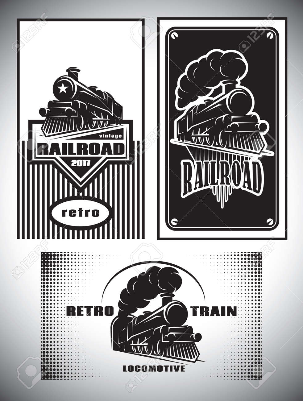 Business cards template set. Vintage steam train, old retro railroad - 69248462