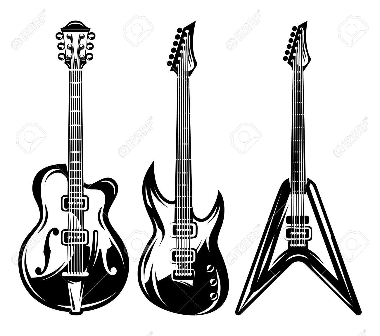 Vector Conjunto De Guitarras Eléctricas Monocromo Para El Diseño De
