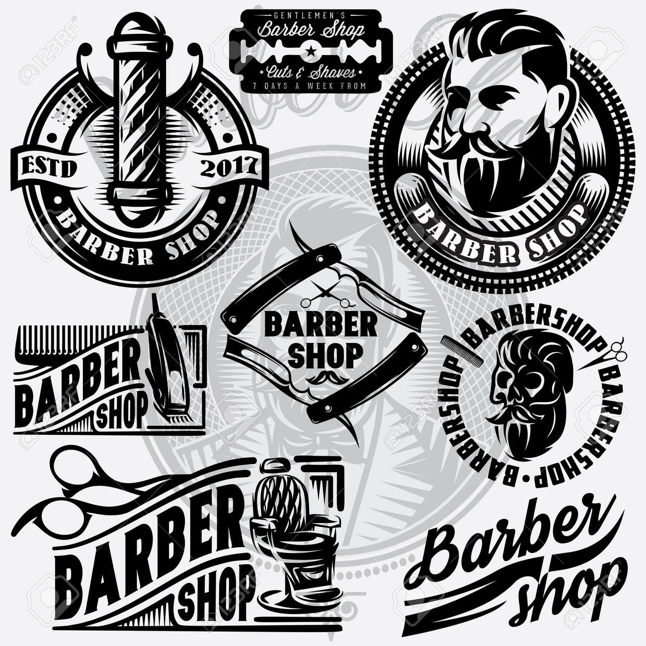 set of templates for barbershop barbershop logos vector