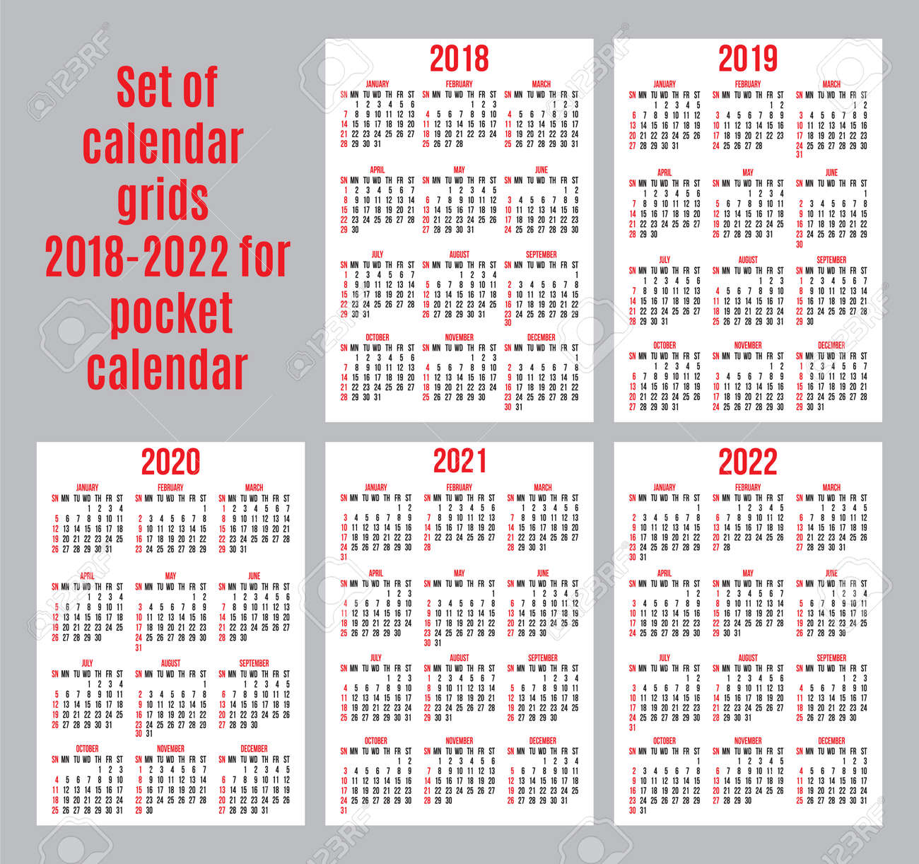 Vector set of calendar grids for years 2018 2022 for business vector vector set of calendar grids for years 2018 2022 for business cards on white background colourmoves