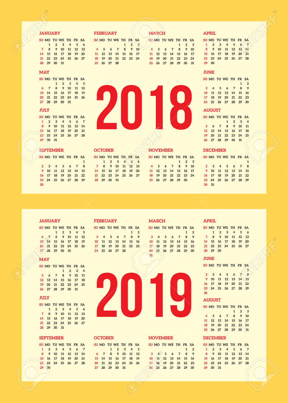 Vector set of calendar grid for years 2018 2019 for business vector vector set of calendar grid for years 2018 2019 for business cards on background colourmoves