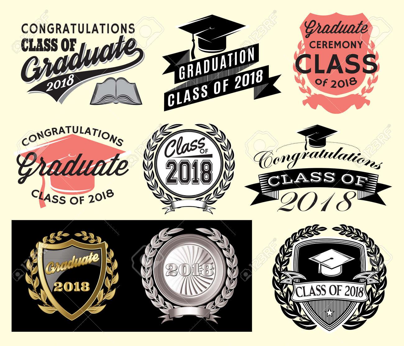 graduation sector set class of 2018 congrats grad congratulations