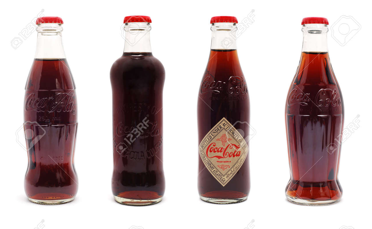 Caransebes, Romania - June 15th, 2011, Coca Cola limited edition 125 years anniversary bottles isolated on white Stock Photo - 9730402