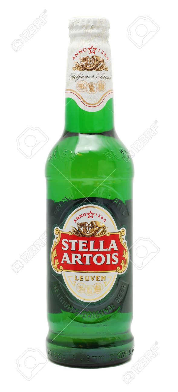 Caranasebes, Romania, January, 29th, 2012 - Stella Artois beer bottle isolated on white Stock Photo - 12160294