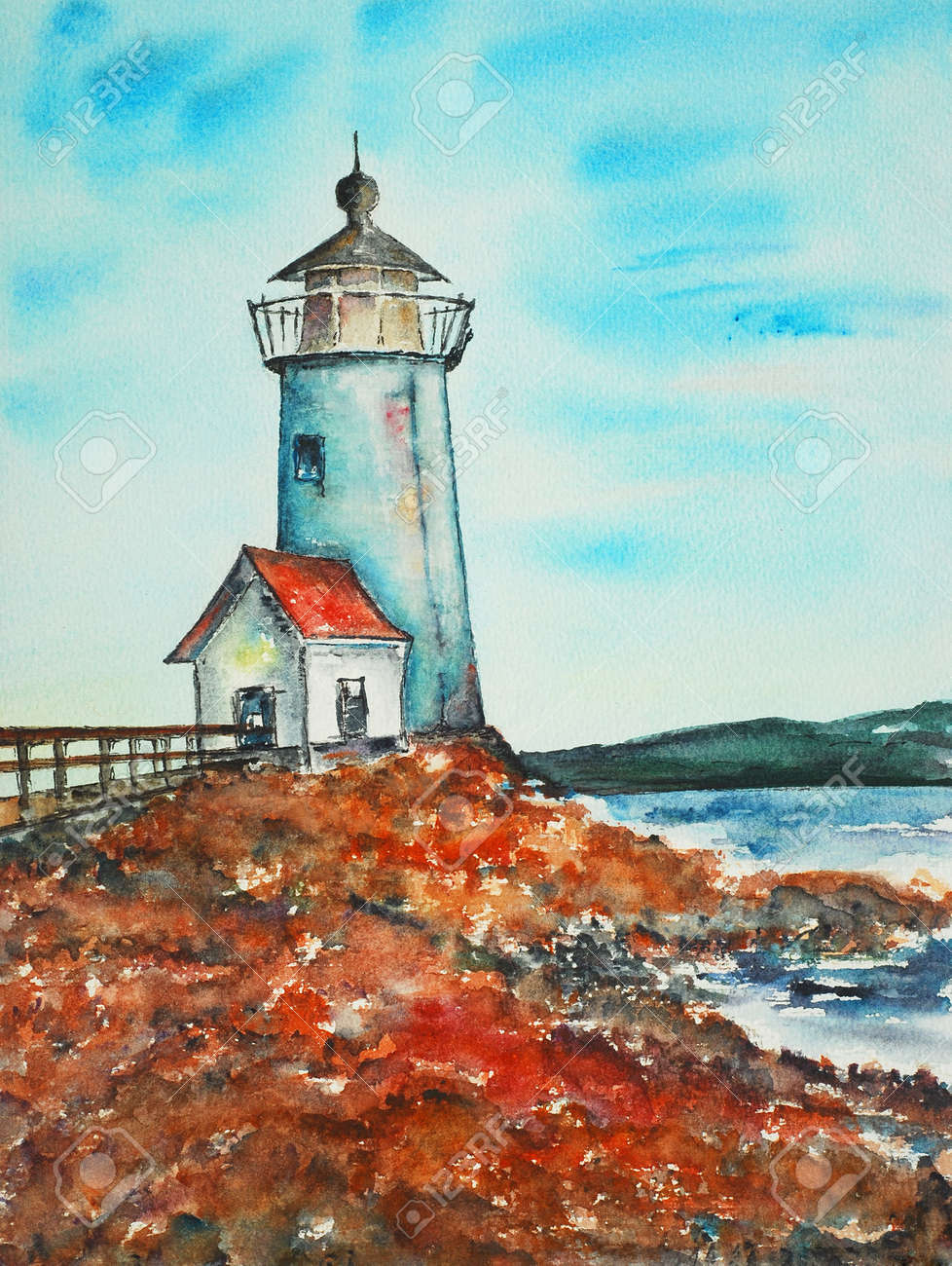 lighthouse , watercolor painting