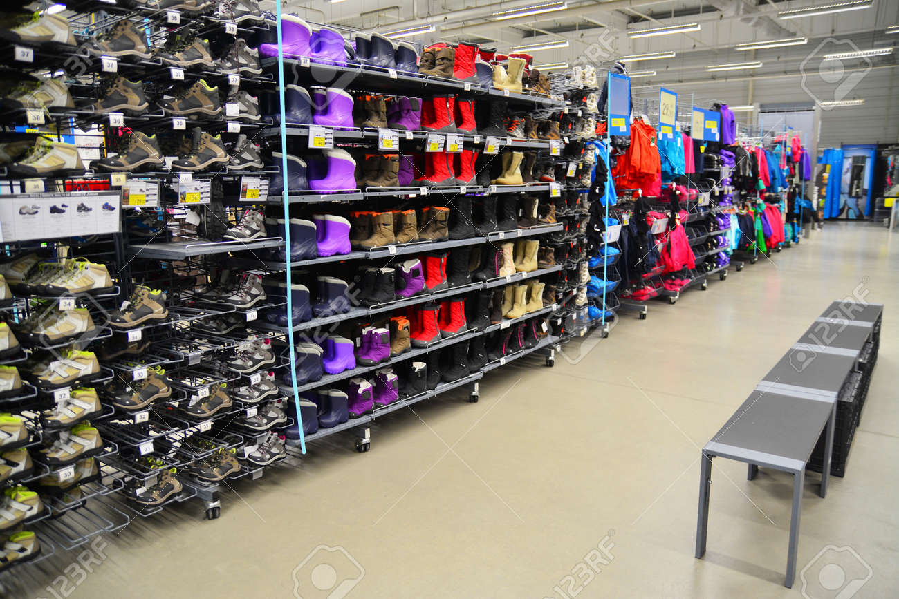 c6fb09a8f3 Stock Photo - the shoe department of the decathlon sports equipment store